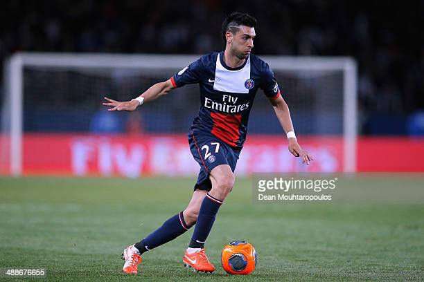 Javier Pastore of PSG in action during the Ligue 1 match between Paris SaintGermain FC and Stade Rennais FC at Parc des Princes on May 7 2014 in...