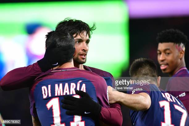 Javier Pastore of PSG is congratulated by teammates after putting their side 20 ahead during the Ligue 1 match between Paris Saint Germain and Lille...