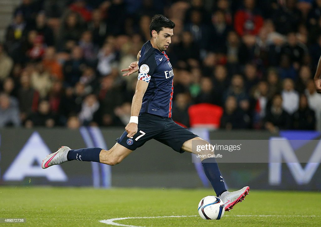 Javier Pastore of PSG scores the first goal during the French Ligue 1 match between Paris Saint-Germain FC (PSG) and EA Guingamp at Parc des Princes stadium on September 22, 2015 in Paris, France.