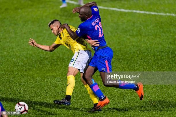 Javier Patino Lachica of Buriram in action against Kitchee Midfielder Mohamed Sissoko during the Preseason Friendly Match between Kitchee and Buriram...