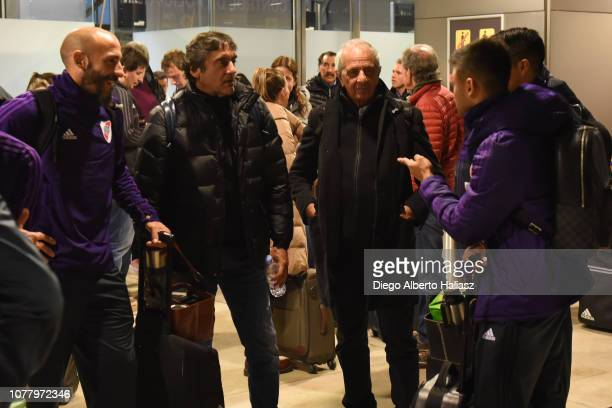 Javier Pinola Enzo Francescoli Rodolfo D'Onofrio and Gonzalo Martinez of River Plate arrive at Barajas Airport on December 6 2018 in Madrid Spain Due...