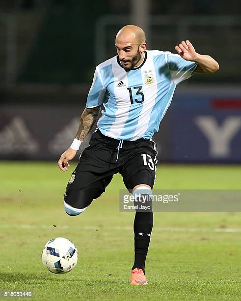 Javier Pinola of Argentina prepares to kick the ball during a match between Argentina and Bolivia as part of FIFA 2018 World Cup Qualifiers at Mario...