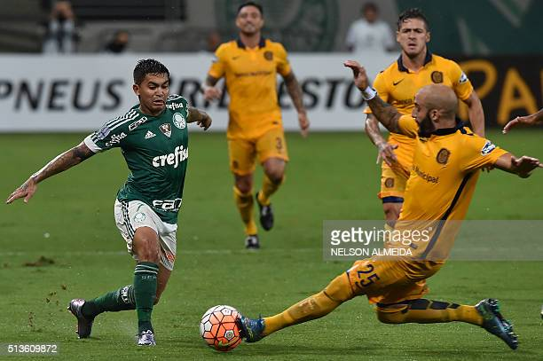Javier Pinola of Argentina's Rosario Central vies for the ball with Dudu of Brazil's Palmeiras during their 2016 Copa Libertadores football match...