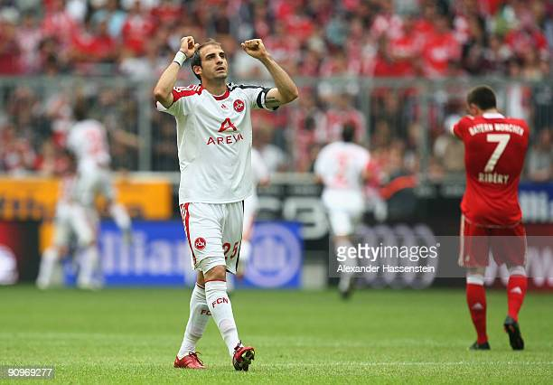 Javier Pinola of Nuernberg celebrates the first team goal during the Bundesliga match between FC Bayern Muenchen and 1 FC Nuernberg at Allianz Arena...