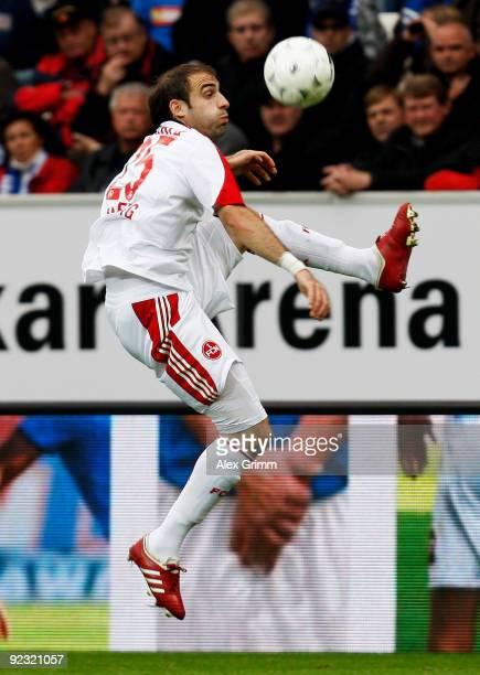 Javier Pinola of Nuernberg controles the ball during the Bundesliga match between 1899 Hoffenheim and 1 FC Nuernberg at the RheinNeckar Arena on...