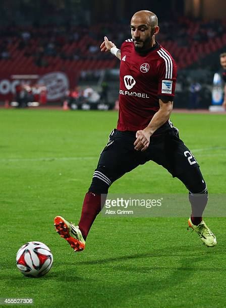 Javier Pinola of Nuernberg controles the ball during the Second Bundesliga match between 1 FC Nuernberg and Fortuna Duesseldorf at GrundigStadion on...