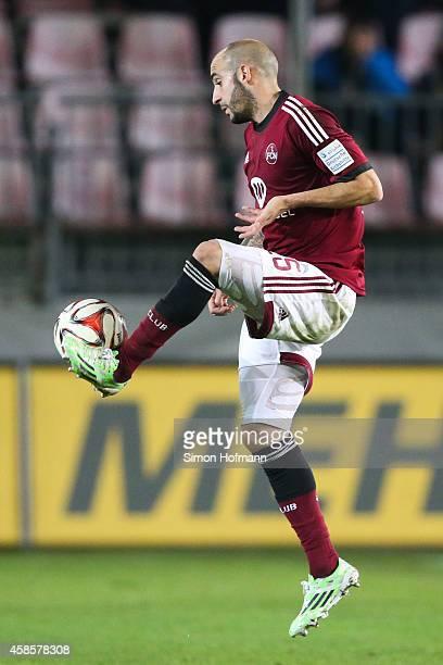 Javier Pinola of Nuernberg controls the ball during the Second Bundesliga match between SV Sandhausen and 1 FC Nuernberg at Hardtwaldstadion on...