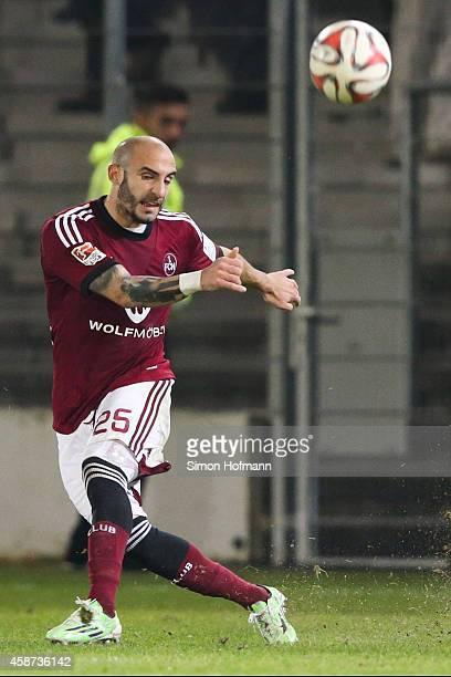 Javier Pinola of Nuernberg takes a freekick during the Second Bundesliga match between SV Sandhausen and 1 FC Nuernberg at Hardtwaldstadion on...