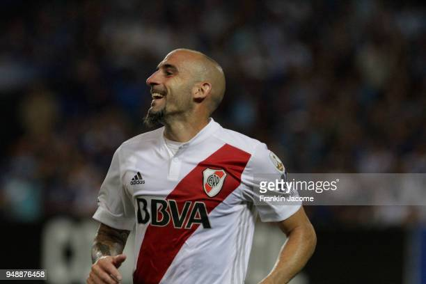 Javier Pinola of River Plate celebrates after scoring the first goal of his team during a match between Emelec and River Plate as part of Copa...