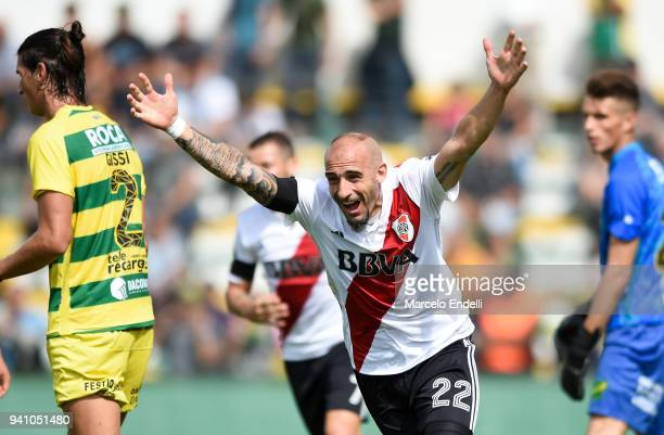 Javier Pinola of River Plate celebrates after scoring the second goal of his team during a match between Defensa y Justicia and River Plate as part...