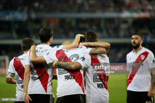 Javier Pinola of River Plate celebrates with teammates after scoring the first goal of his team during a match between Emelec and River Plate as part...