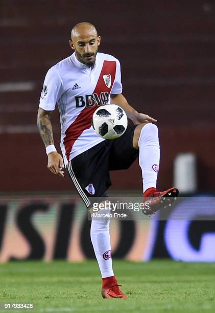 Javier Pinola of River Plate controls the ball during a match between Lanus and River Plate as part of the Superliga 2017/18 at Ciudad de Lanus...