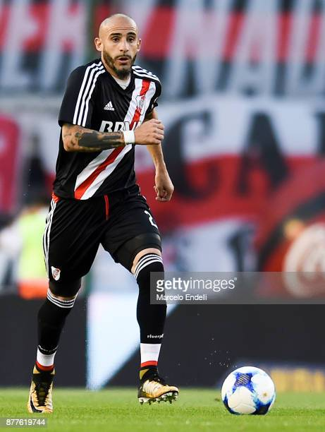 Javier Pinola of River Plate drives the ball during a match between River and Union as part of Superliga 2017/18 at Monumental Stadium on November 22...