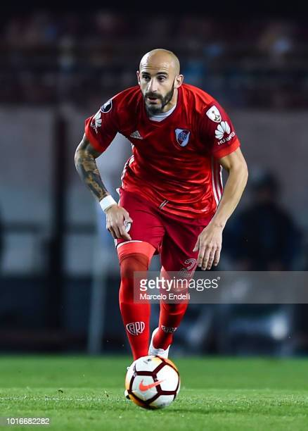 Javier Pinola of River Plate drives the ball during a round of sixteen first leg match between River Plate and Racing Club as part of Copa CONMEBOL...