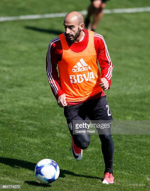 Javier Pinola of River Plate drives the ball during a training session at River Plate's training camp on September 27 2017 in Ezeiza Argentina