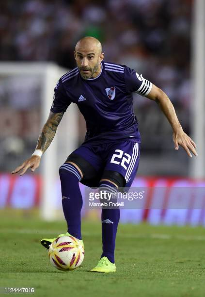 Javier Pinola of River Plate kicks the ball during a match between River Plate and Union as part of Round 12 of Superliga 2018/19 at Estadio...