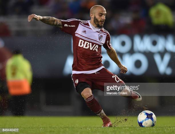 Javier Pinola of River Plate kicks the ball during a match between River Plate and Banfield as part of Superliga 2017/18 at Monumental Stadium on...