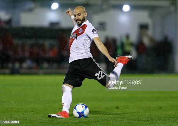 Javier Pinola of River Plate kicks the ball during a match between Tigre and River Plate as part of Superliga 2017/18 at Jose Dellagiovanna Stadium...