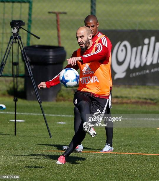 Javier Pinola of River Plate kicks the ball during a training session at River Plate's training camp on September 27 2017 in Ezeiza Argentina