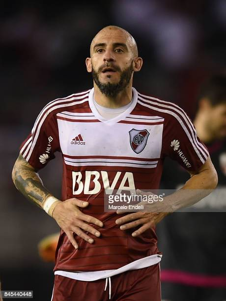 Javier Pinola of River Plate looks on during a match between River Plate and Banfield as part of Superliga 2017/18 at Monumental Stadium on September...