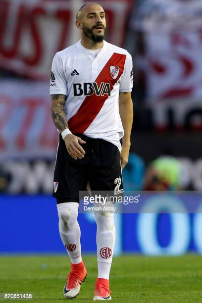 Javier Pinola of River Plate looks on during a match between River Plate and Boca Juniors as part of the Superliga 2017/18 at Monumental Stadium on...