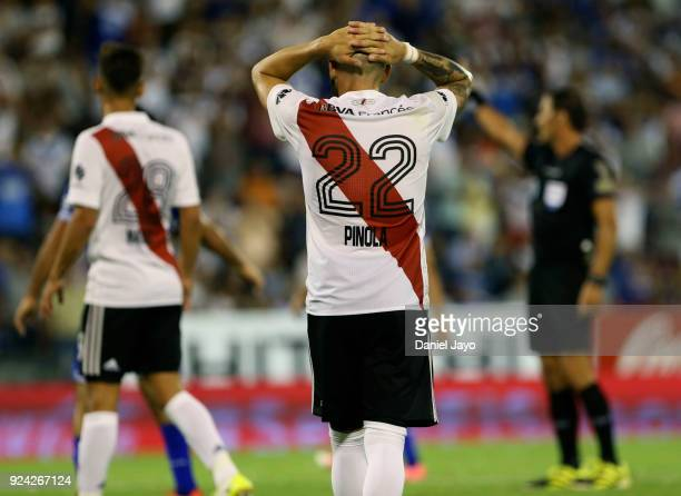 Javier Pinola of River Plate reacts during a match between Velez Sarsfield and River Plate as part of the Superliga 2017/18 at Jose Amalfitani...