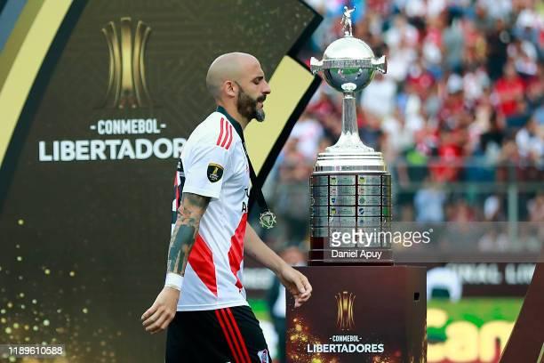 Javier Pinola of River Plate receives the silver medal after the final match of Copa CONMEBOL Libertadores 2019 between Flamengo and River Plate at...