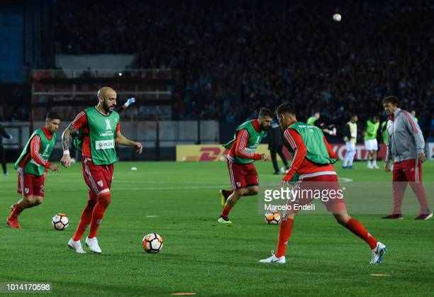 Javier Pinola of River Plate warms up before a round of sixteen first leg match between River Plate and Racing Club as part of Copa CONMEBOL...