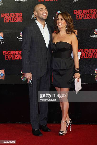 Javier Poza and actress Andrea Legarreta attend the premiere of 'Knight Day' at Cinemex Santa Fe on July 7 2010 in Mexico City Mexico