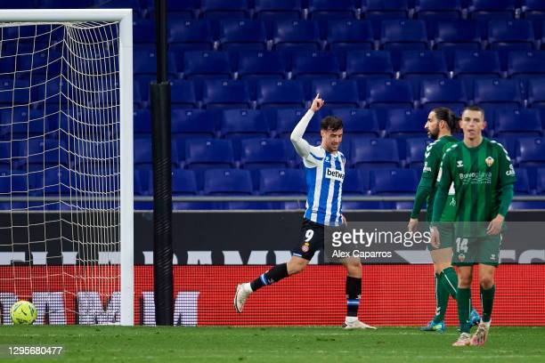 Javier Puado of RCD Espanyol celebrates after scoring his team's second goal during the LaLiga SmartBank match between RCD Espanyol and CD Castellon...