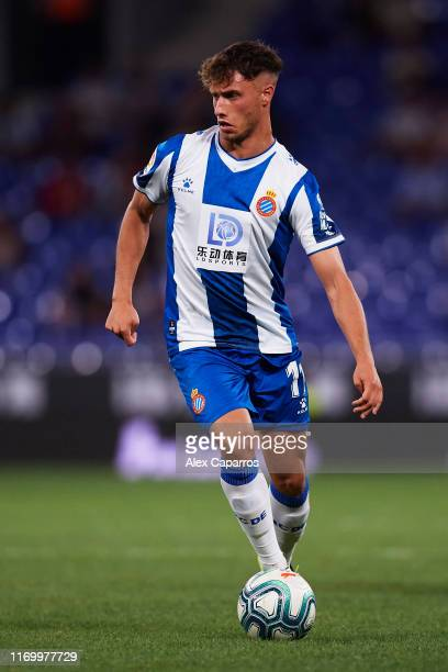 Javier Puado of RCD Espanyol controls the ball during the UEFA Europa League Play Off match between Espanyol and Zoryan Luhansk at RCDE Stadium on...