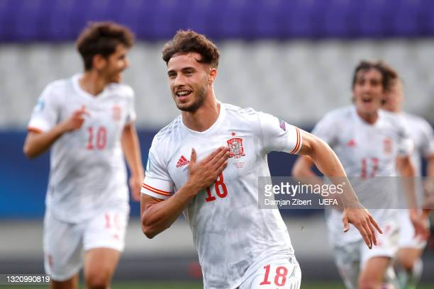 Javier Puado of Spain celebrates after scoring their side's first goal during the 2021 UEFA European Under-21 Championship Quarter-finals match...