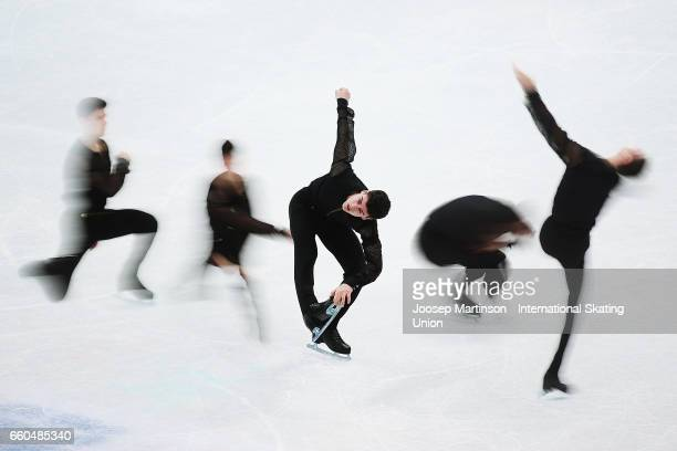 Javier Raya of Spain competes in the Men's Short Program during day two of the World Figure Skating Championships at Hartwall Arena on March 30 2017...