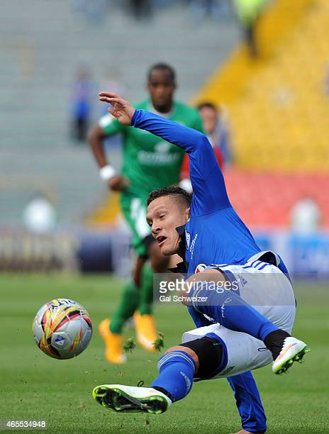 Javier Reina of Millonarios in action during a match between Millonarios and La Equidad as part of eighth round of Liga Aguila I 2015 at Nemesio...