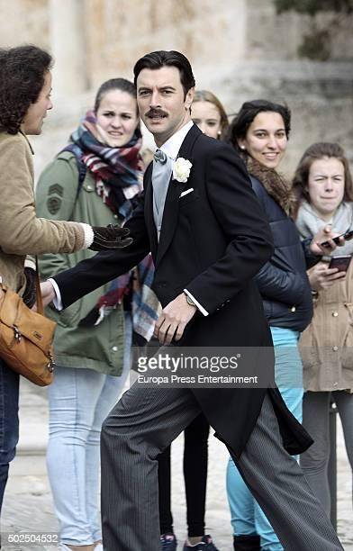 Javier Rey is seen during the set filming of 'Galerias Velvet' on December 14 2015 in Madrid Spain