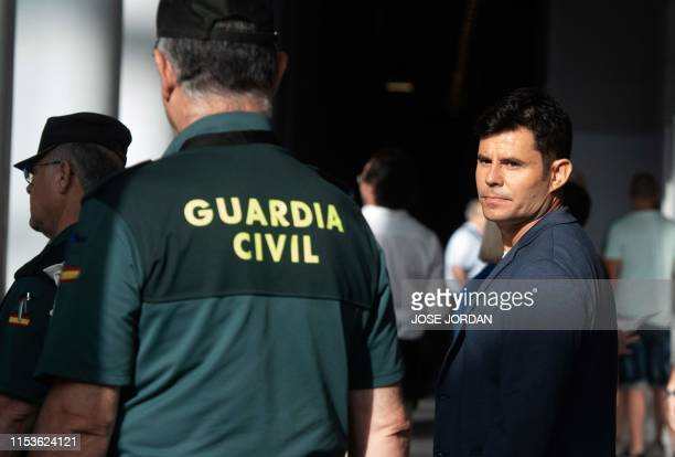 Javier Sanchez Santos, who claims to be the son of Spanish crooner Julio Iglesias, arrives to appear to the court of Valencia before a hearing to...