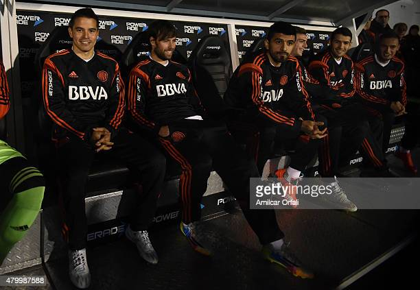 Javier Saviola Fernando Cavenaghi and Luis Gonzalez of River Plate look on during a match between Tigre and River Plate as part of 13th round of...
