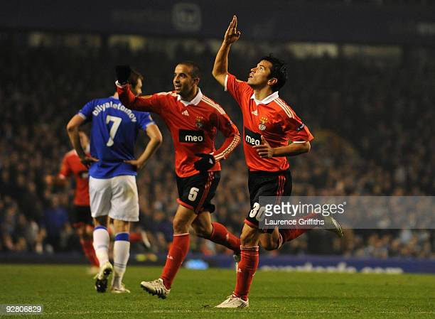 Javier Saviola of Benfica celebrates scoring the opening goal during the UEFA Europa League Group I match between Everton and Benfica at Goodison...