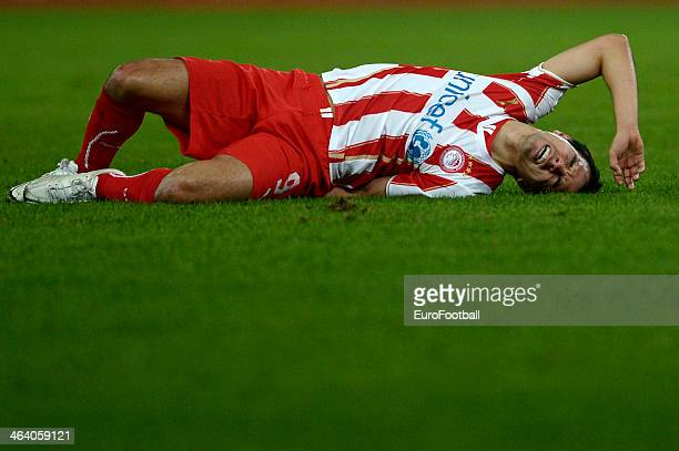 Javier Saviola of Olympiacos lies injured on the floor during the Greek Superleague match between Olympiacos and Levadiakos at the Georgios...