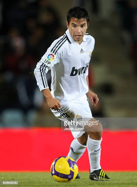 Javier Saviola of Real Madrid runs with the ball during the La Liga match between Getafe and Real Madrid at the Coliseum Alfonso Perez stadium on...