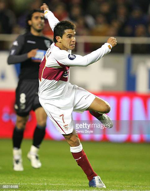 Javier Saviola of Sevilla takes a crack at goal during the UEFA Cup Group H match between F.C. Sevilla and Vitoria de Guimaraes at the Sanchez...