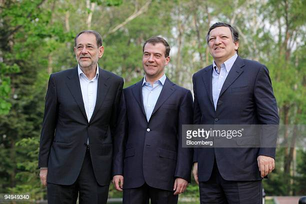 Javier Solana the European Council's foreign minister left stands with Dmitry Medvedev Russia's president center and Jose Manuel Barroso president of...