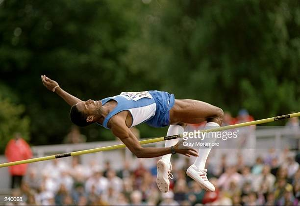 Javier Sotomayer does the high jump during the IAAF World Championships. Mandatory Credit: Gray Mortimore /Allsport