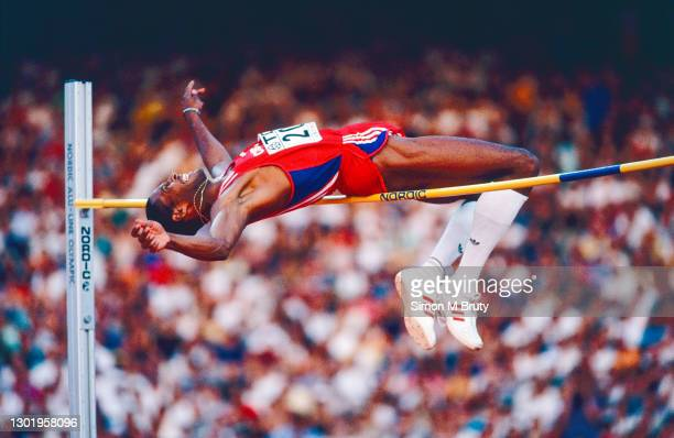 Javier Sotomayor of Cuba in action and winning the Men's High Jump Finals at The 6th IAAF World Athletics Championships at the Olympic Stadium....
