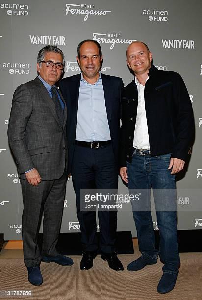 Javier Suarez, Massimo Ferragamo and Mike Novogratz attend the Ferragamo WORLD launch party at Salvatore Ferragamo on October 21, 2010 in New York...