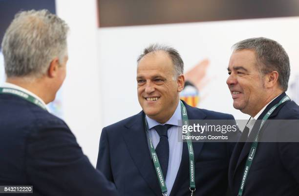 Javier Tebas La Liga President talks in the La Liga lounge during day 3 of the Soccerex Global Convention at Manchester Central Convention Complex on...