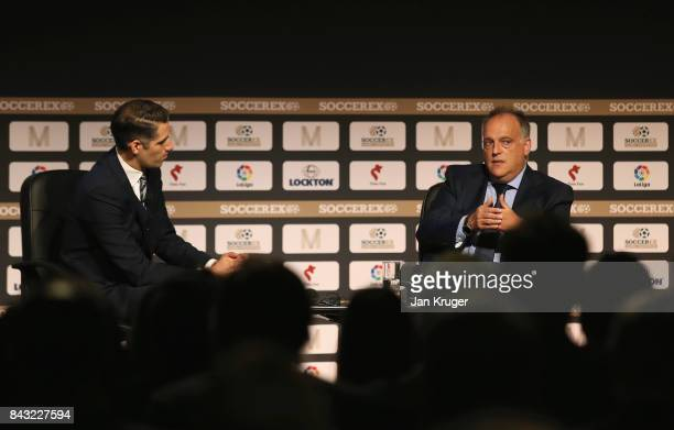 Javier Tebas La Liga President talks with David Garrido Sky Sports Presenter during day 3 of the Soccerex Global Convention at Manchester Central...