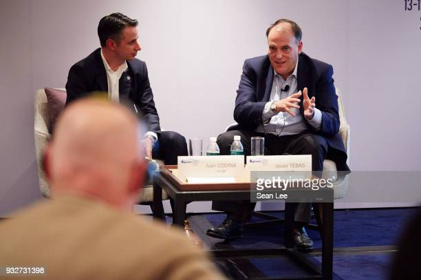 Javier Tebas of La Liga speaks as Ivan Codino of La Liga listens at the Sportel Asia Convention on March 13 2018 in Singapore
