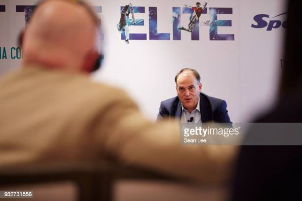 Javier Tebas of La Liga speaks at the Sportel Asia Convention on March 13 2018 in Singapore