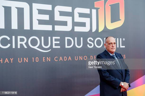 Javier Tebas poses on the red carpet during the premiere of 'Messi 10' by Cirque du Soleil on October 10 2019 in Barcelona Spain